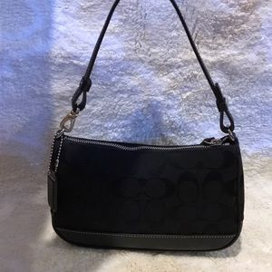 New Coach Black Logo Bag with Leather stripe